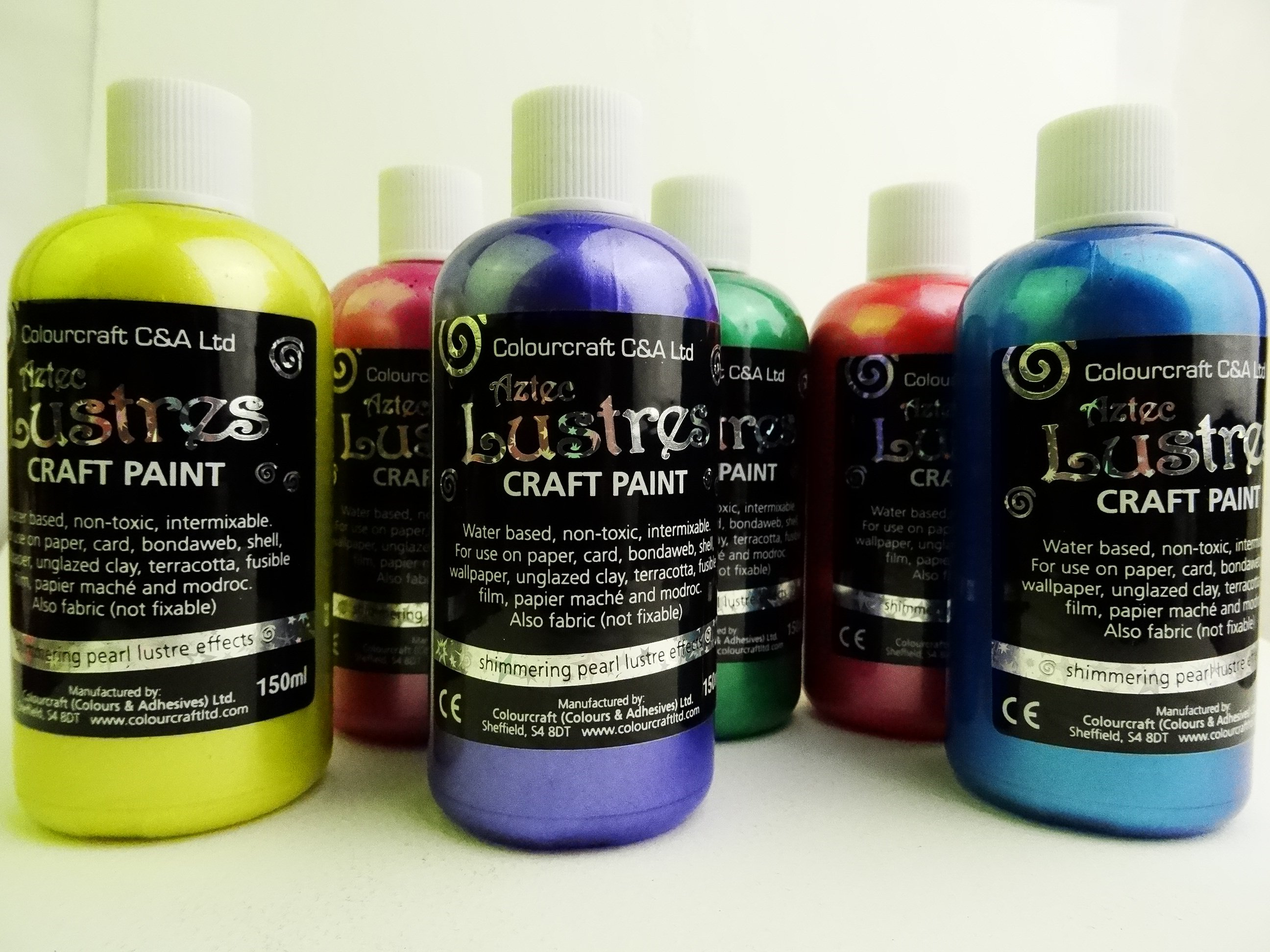 Aztec Lustre Colours 6x150ml- R,Y,B,AQ,PK,P.