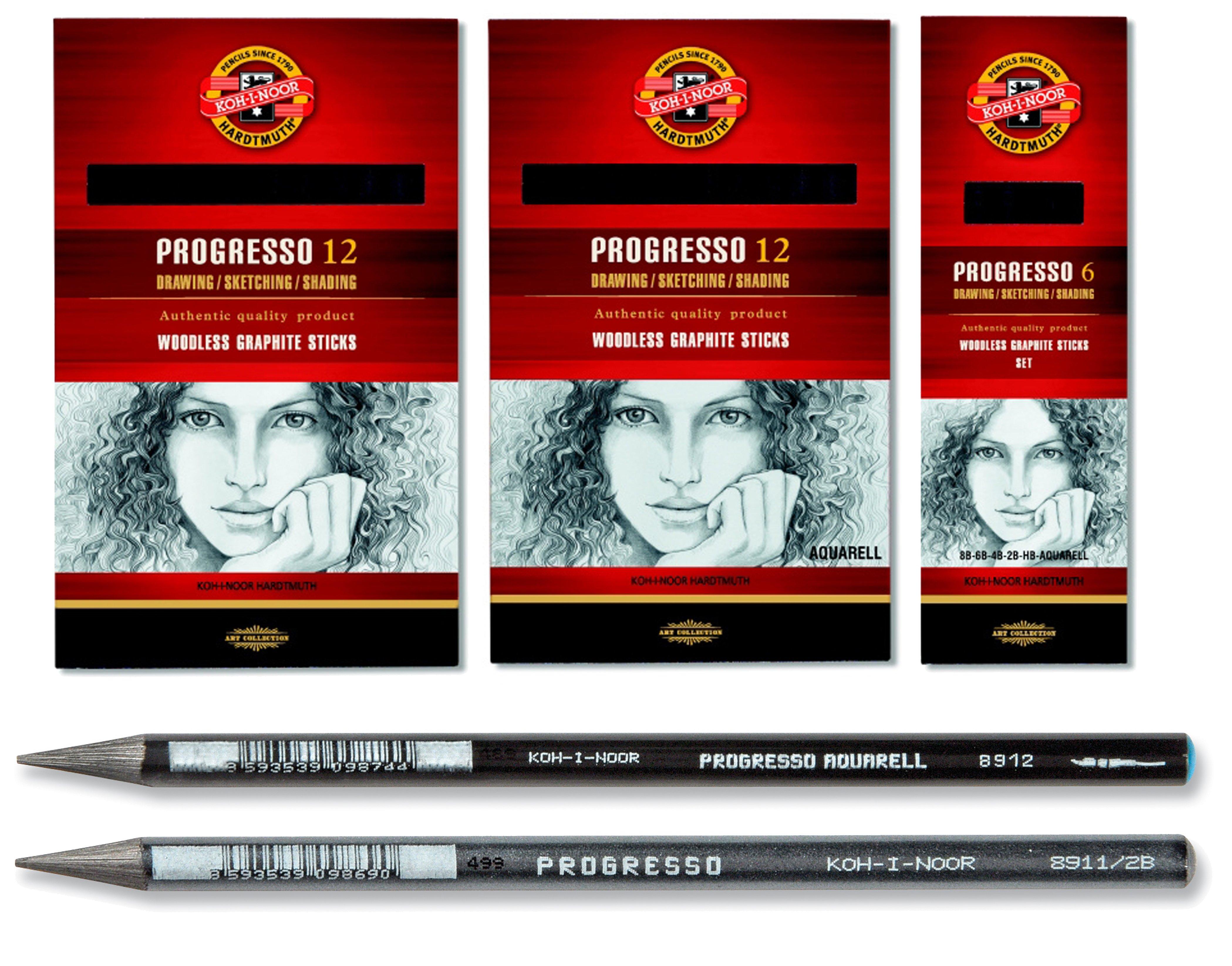Progresso Solid Aquarelle Soft Graphite Pencil - Pack of 12