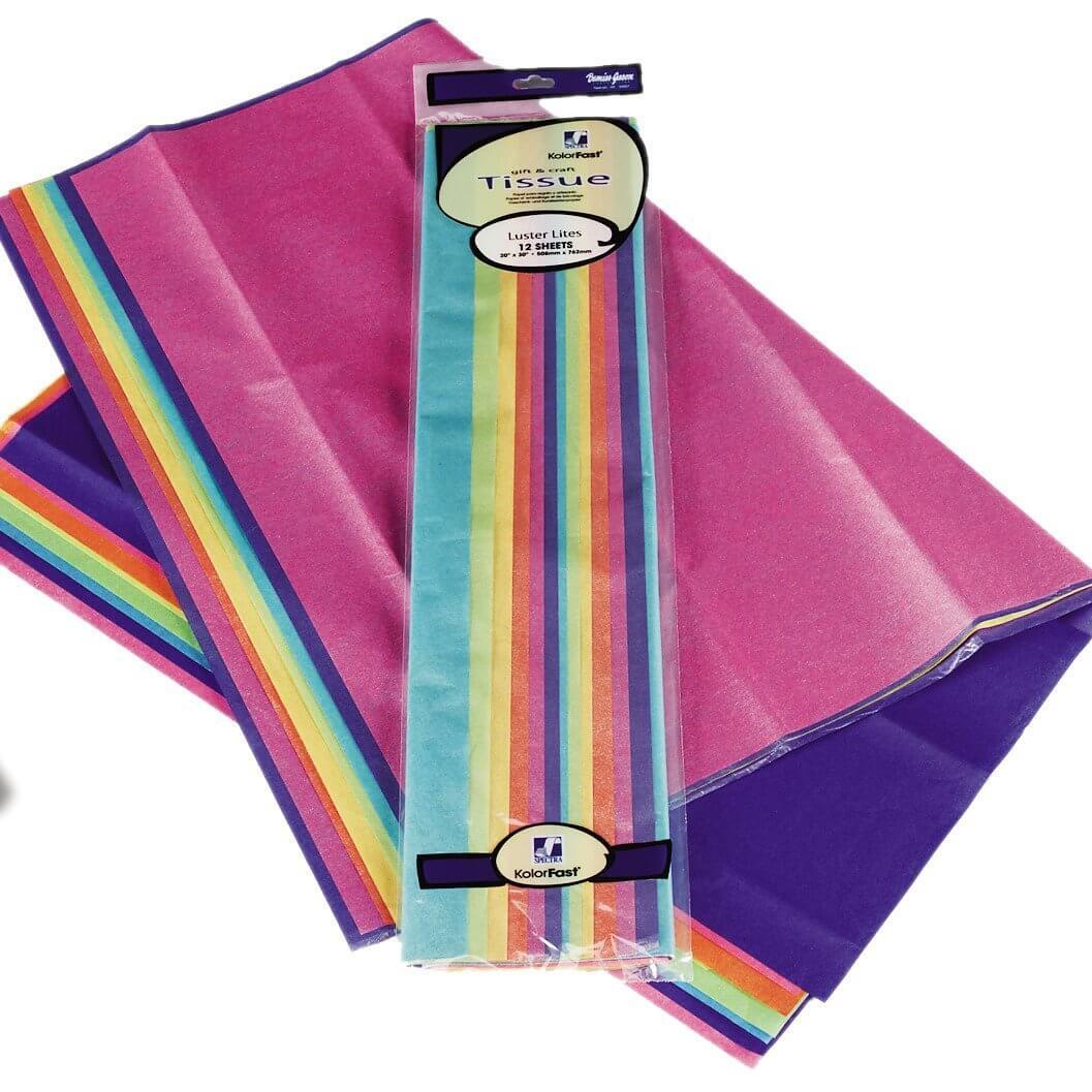 Tissue Paper Lustre Asstd 12 Sheets 6 Colours