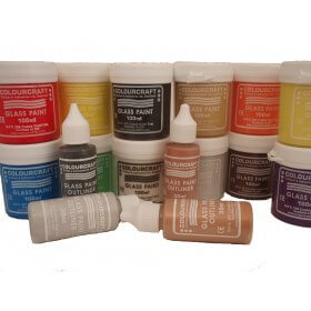 Glass Paint Set 10 x 100ml Assorted + 4 x  30ml Outliners
