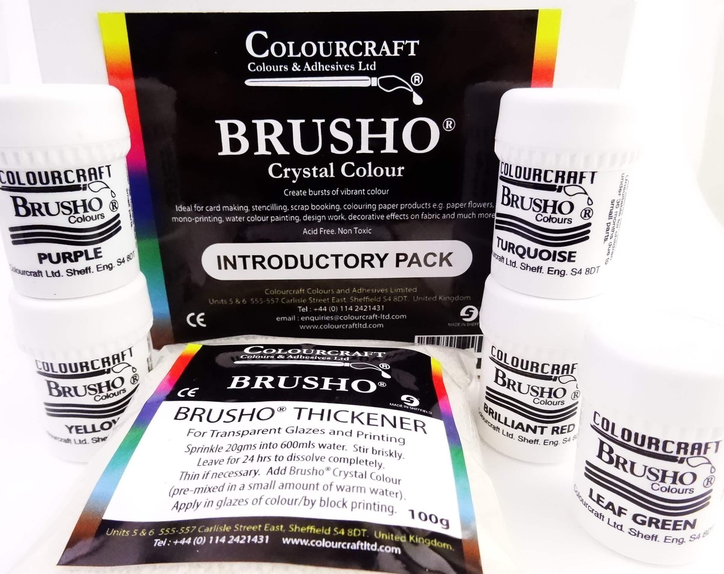 Brusho Fixed Assortment Intro Set 5 Cols & Thickener